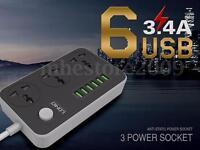 LDNIO 3 International Power Socket 6 USB Port Charging Socket Electrical Outlet