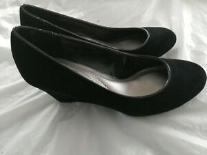 """CONNIE Women's Black Suede Leather Casual Work Shoes 2.5"""" Wedge Heel Shoes Size7"""