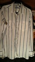 WRANGLER WHITE BLUE STRIPED WESTERN COWBOY RODEO DRESS SHIRT MEN'S LARGE SNAPS