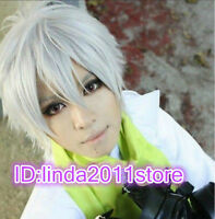 Dramatical Murder Clear Short Layer Silvery White Cosplay Hair Full Wig+Wig cap