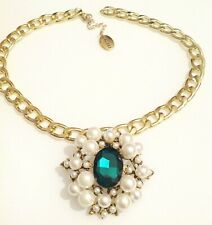 collier fantaisie style vintage perle blanche strass émeraude couleur or A17