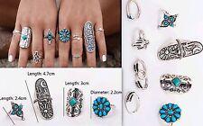 Retro stijl set van 9 tibetaans zilveren dames ringen met turquoise steen