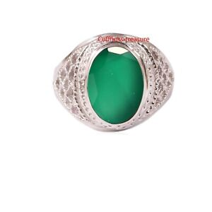 Natural Green Onyx  Gemstone With 925 Sterling Silver Ring For Men's