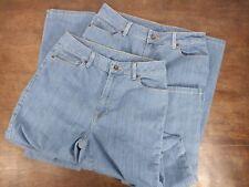 2 Pair Womens LL Bean Classic Fit Favorite Fit Light Wash Blue Jean Size 10 Tall