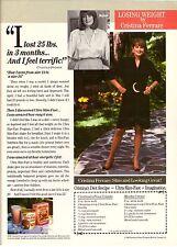 1990 Ultra Slim Fast Diet Cristina Ferrare Print Ad Vintage Advertisment VTG 90s
