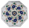 12'' White Marble Top Coffee Table Lapis Inlay Marquetry Furniture Arts H3040