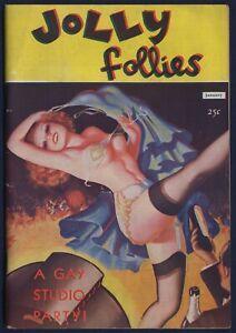 JOLLY FOLLIES V1 #1, Saucy Pulp Magazine, Wild Strip-Tease Cover, FINE Jan 1939
