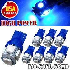 8PCS Ultra Blue T10 5 LED  Bulbs 5050 SMD Car Interior License Light 2825 194 US