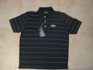 VANSPORT PERFORMANCE U.S. OPEN BLACK STRIPED SEWN POLO COLLAR SMALL SHIRT NWT