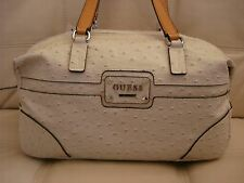 NEW  GUESS PURSE BAG  TOTE WHITE STONE TAN LEATHER LOOK OSTRICH