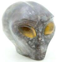 XL WONDERFUL Solid FLUORITE Crystal ALIEN HEAD Art SCULPTURE with TIGER EYE Eyes