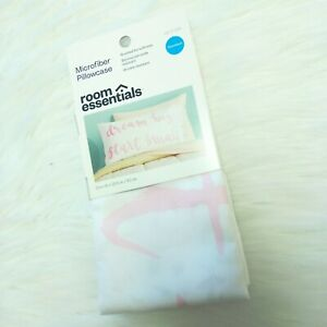 New ROOM ESSENTIALS Microfiber Pillowcase, Standard (20 in x 30 in) White / Pink