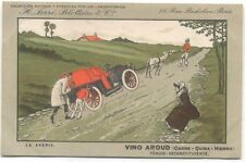 Advertising Vino Aroud - French postcard Comic Car towed by stubborn horse