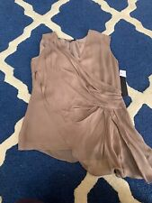 Cynthia Steffe Light Taupe Asymmetrical Draped Silk Top XS NWT