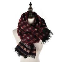 Large Ladies Floral Stripe Print Navy & Burgundy & Beige Scarf/Shawl/Hijab/Wrap