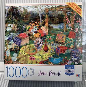 John Powell Jigsaw Puzzle Flower Garden  Milton Bradley New 1k Piece + Poster!