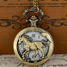 Classic Full Hunter Bronze Horse Pendant Pocket Watch Quartz Necklace Chain Gift