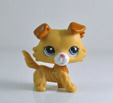 Littlest Pet Shop LPS #2452 Rare Collie Cream Yellow Puppy Dog Blue Eyes Xmas