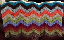 CROCHET blanket afghan couch throw baby chevron ripple handmade MULTICOLOR BOHO