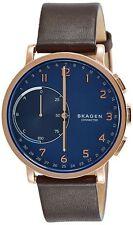 Skagen Unisex Hybrid Smartwatch SKT1103 Brown Leather Strap Gold Case Blue Dial