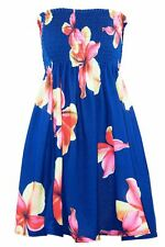 Womens Ladies Printed Boobtube Bandeau Sheering Ruched Gathered Mini Dress Top Plus Size UK 16 Navy Floral - Rose Party Celebrity Night out