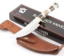 Blackjack Intl Obadiah Genuine Stag Handles Skinning Knife BJ054 Skinner Sheath