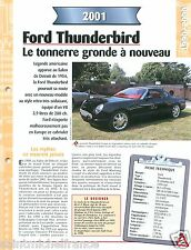 Ford Thunderbird Cabriolet V8  2001 USA Car Auto Voiture FICHE FRANCE