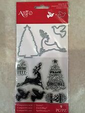Momenta  Art-C Clear Stamp & Cut Set Christmas Deer Tree & Dove 25270 NEW