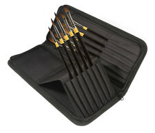 Daler Rowney System 3 Heavy Body Zip Case 10 Artist Acrylic Brushes Long Handle