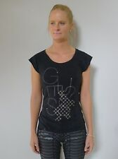 Guess 8 XS black cap sleeves long tshirt top cotton designer excellent