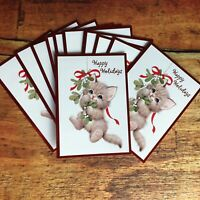 Set of 10 Vintage Grey Kitten Cat + Mistletoe Christmas Holiday Greeting Cards
