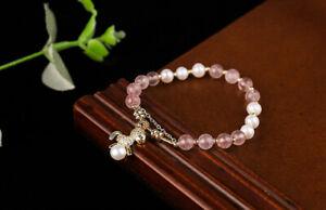 D12 Bracelet Erbeerquarz Rose Perles Baroques Blanc Ventre Doré Cheval Poney