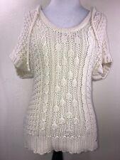 HOLLISTER Womens Cream Crochet Hoodie Short Sleeve Sweater Size M