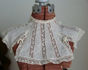 Antique White Work Valenciennes Lace Ribbonwork Collar
