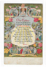 Christian Religion Illustrated Lords Prayer Our Father Vintage Postcard