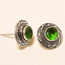 "EXCITING PERIDOT GEMSTONE ETHNIC STUD Jewelry EARRING 0.67"" E-137"