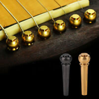 6pcs High Quality Brass Bridge Pins Acoustic Folk Guitar String Pegs Gold/Black