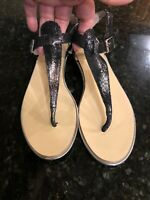Fary Robin Leather Thong Sandals, Size 39/9, Metallic Black, New!
