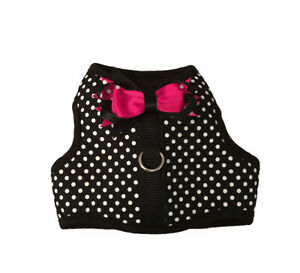 Top Paw Black and White Polka Dot Pink Bow Dog Vest Harness XS Extra Small