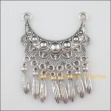 1Pc Tibetan Silver Tone Moon Flower Tassels Charms Connectors 46x63mm