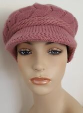 MAUVE Cable Knit Newsboy CHEMO CAP HAT with Brim + Plush Lining Cancer Headwear