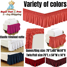 Bed Dust Ruffle Skirt Queen King Twin Full Size Wrap Around Elastic 18 Colors