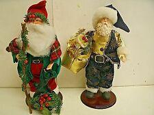"Lot of 2 Old World Style Santa Claus on wood base 12"""