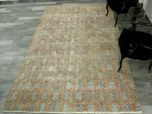 Nomadic Anatolian Vintage Area Rug Turkish Bohemian Pale Orange Carpet 6x10 ft