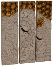 Buddha Wandrelief Wandbild 3-tlg. massiv Holz Chinesische Möbel Thai 52x45 WG