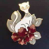 Vintage White Cat Pin Enamel Cloisonne Pink Flowers Leaves