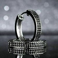 14K White Gold Finish 2.00 Ct Round Cut Black Diamond Huggie Hoop Earrings