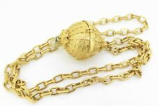 .Vintage 80s Karl Lagerfeld Trinket Box GoldTone Orb Pendant Chain Link Necklace