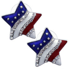 USA US American National Flag Patriotic Red Blue Star Stud Earrings Jewelry e11s