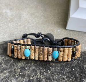 Men's Picture Jasper, Black Obsidian & Turquoise Beaded  Leather  Bracelet Cuff